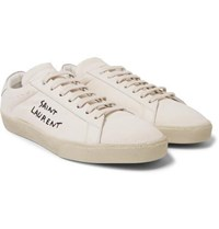 Saint Laurent Sl 06 Leather Trimmed Logo Embroidered Distressed Canvas Sneakers Cream