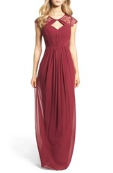Hayley Paige Occasions Women's Cap Sleeve Lace And Chiffon Gown
