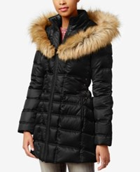 Betsey Johnson Faux Fur Trim Hooded Lace Up Puffer Coat Black