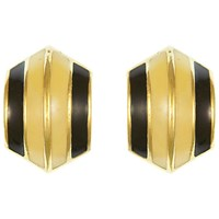 Eclectica Vintage 1980S Christian Dior Gold Plated Enamel Clip On Earrings Cream Black