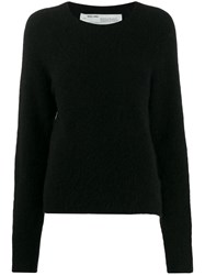 Off White Contrast Stitched Jumper Black