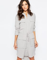 Warehouse Utility Shirt Dress With Drawstring Waist Gray
