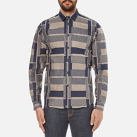 Folk Men's Patterned Long Sleeve Shirt Navy Stone
