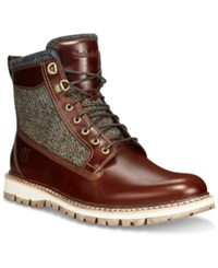 Timberland Britton Hill Leather And Tweed Boots Men's Shoes Brown Grain Tweed