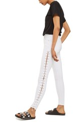 Topshop Women's Jamie Side Lace Up Skinny Jeans White