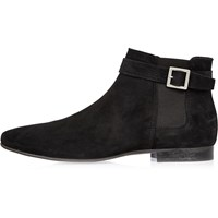 River Island Mens Black Buckle Strap Chelsea Boots