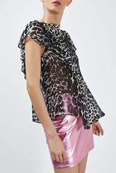 Boutique Leopard Ruffle Top By Monochrome