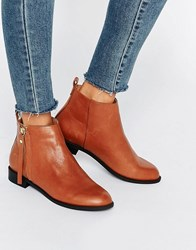 Faith Belle Zip Leather Ankle Boots Tan Leather