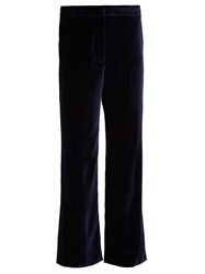 Stella Mccartney Kick Flare Cropped Velvet Trousers Navy