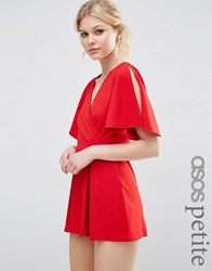 Asos Petite Wrap Front Kimono Sleeve Playsuit Dark Red