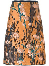 Odeeh Jacquard Midi Skirt Yellow And Orange