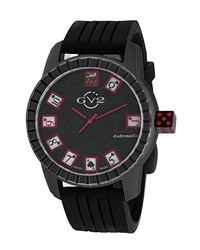 Gv2 48Mm Men's Lucky 7 Automatic Watch W Rubber Strap Black