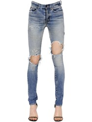 Saint Laurent Washed Skinny Stretch Cotton Denim Jeans