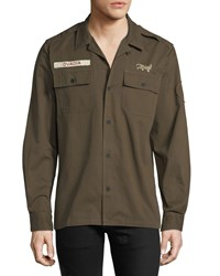 Ovadia And Sons Logo Patch Military Shirt Dark Green