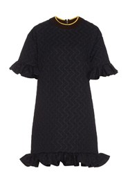 Marni Ruffled Circular Jacquard Dress Blue Multi