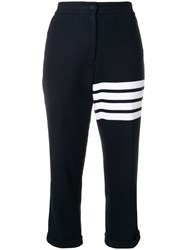 Thom Browne 4 Bar Navy Double Face Trousers Blue