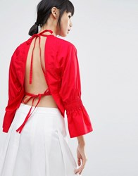 House Of Sunny Open Back Top With Flare Sleeve Red