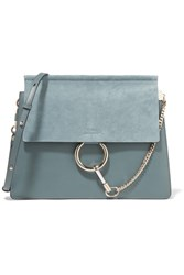 Chloe Faye Medium Leather And Suede Shoulder Bag Blue