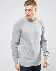 Bellfield Fine Gauge Knitted Jumper With Elbow Patches Grey