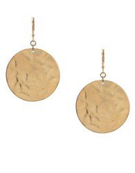 Kenneth Cole Goldtone Hammered Circle Drop Earrings