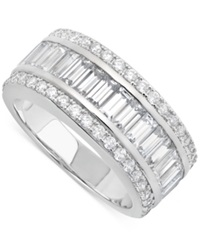 Crislu Platinum Over Sterling Silver Cubic Zirconia Baguette And Round Ring Crystal Cz