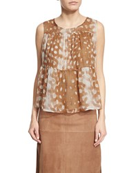 Agnona Sleeveless Tiered A Line Blouse Phard Brown Multi Women's