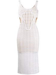 Genny Perforated Design Dress White