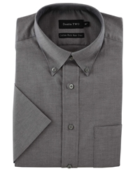 Double Two Half Sleeve Oxford Formal Shirt Silver