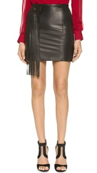 Tamara Mellon Miniskirt With Fringe Panel Black