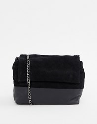 36e04ac317 Urbancode Leather Cross Body Bag With Suede Contrast Black