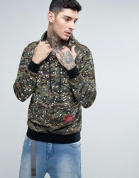 Reason Camo Hoodie With Paint Splat And Back Print Khaki Green