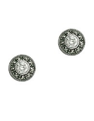 Judith Jack Sterling Silver And Crystal Stud Earrings