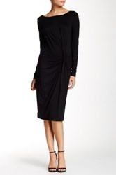 Three Dots Boatneck Knot Dress Black