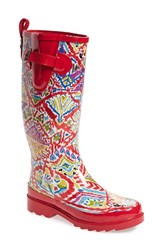 Sakroots Women's 'Rhythm' Waterproof Rain Boot Sweet Red Brave Beauty
