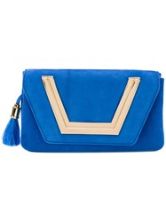Me Moi Sapphire Clutch Women Suede Metal One Size Blue