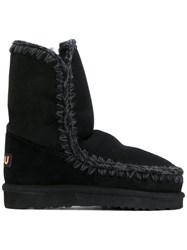 Mou Eskimo 24 Boots Women Leather Wool Rubber 40 Black