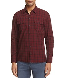 Paige Everett Plaid Regular Fit Button Down Shirt Fig Wine