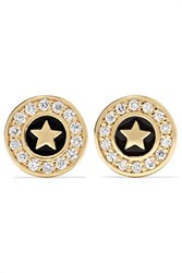 Sydney Evan Star 14 Karat Gold And Enamel Diamond Earrings One Size