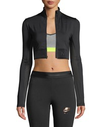 Nike Pro Long Sleeve Cropped Zip Front Top Black