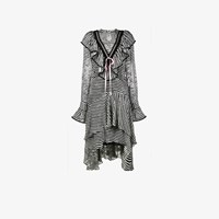 Preen By Thornton Bregazzi Stripy Ruffled Asymmetrical Dress