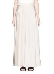 Lanvin Satin Twill Pleated Maxi Skirt White