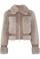 Zimmermann Fleeting Paneled Leather And Shearling Jacket Beige