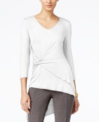 Cable And Gauge Faux Wrap Asymmetrical Hem Top Bright White