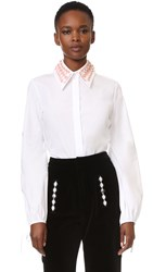 Holly Fulton Embroidered Collar Shirt White Pink