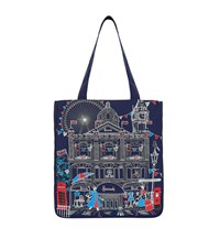 Harrods Embroidered London Sw1 Tote Bag Navy