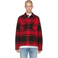 Off White Red And Black Flannel Stencil Shirt