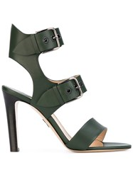 Paul Andrew Double Buckle Sandal Women Calf Leather Leather 38.5 Green