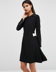 Ted Baker Emorly Long Sleeved Shift Dress With Contrast Side Bows Black