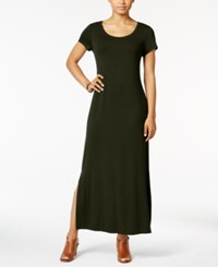 Style And Co Petite Short Sleeve Maxi Dress Only At Macy's Evening Olive