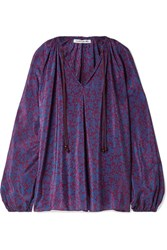 Elizabeth And James Chance Printed Silk Blouse Purple